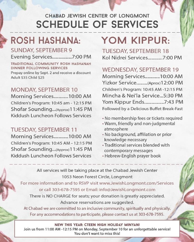 High Holidays 20185779 Chabad Jewish Center Of Longmont