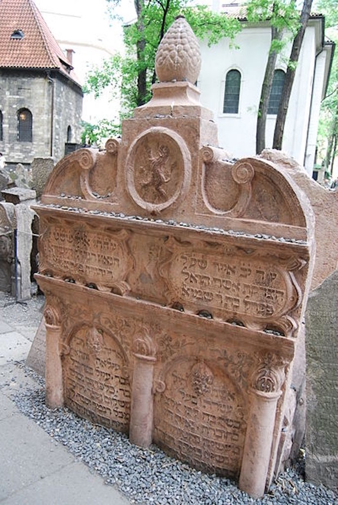 Tombstone of the Maharal in the Old Jewish Cemetery, Prague (Photo: Wikimedia)