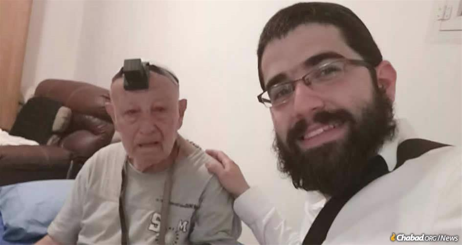 """Rabbi Dovid Chaim Hilel Chemama responded to a message that Louis Fitoussi, 87, a recent immigrant to Israel from France, needed help. """"I came to Israel two years ago to be with my two sisters,"""" explained Fitoussi, """"but they both passed away one after another, and here I am alone, with no one in the world to care for me."""""""