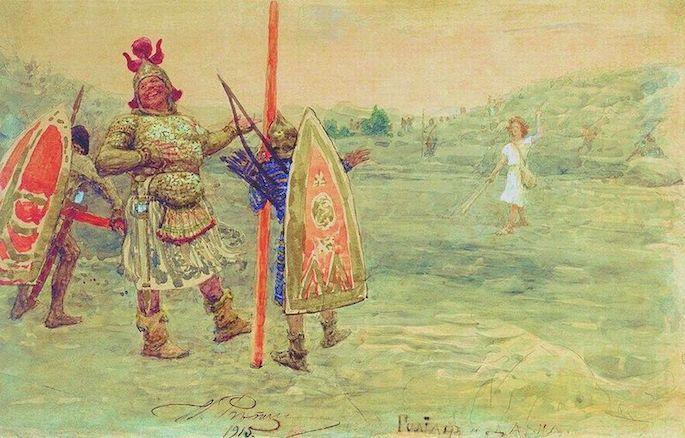 David facing a mocking Goliath. (Ilya Repin, 1915)