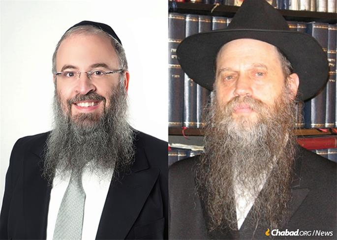 "Rabbi Zalman Goldstein, left, is known for making Judaism easy to understand. Compiler of the 1,600-page ""Complete Index to the Rebbe's Talks,"" Rabbi Michoel A. Seligson, right, is known for his encyclopedic grasp of Jewish texts, particularly Chabad teachings."