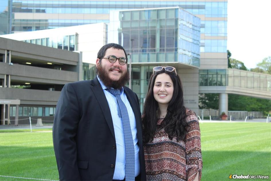 """Rabbi Shmuel (""""Shmulik"""") and Sarah Fogelman, co-directors of Chabad at the University of Massachusetts Medical School in Worcester, Mass."""