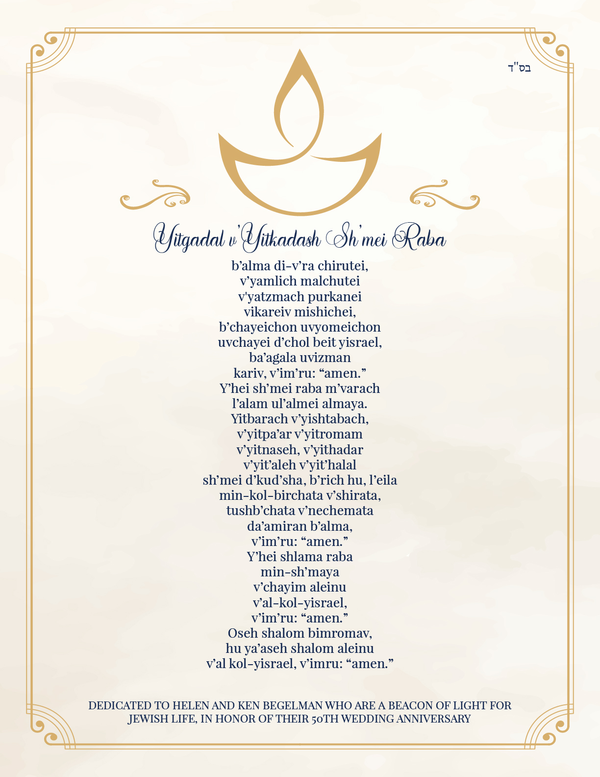 Yitkagal Prayer