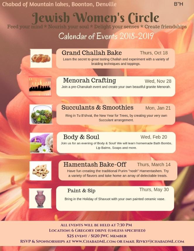 Chabad Jewish Calendar 2019 Calendar of Events 2018 2019   Chabad Jewish Center Mountain Lakes