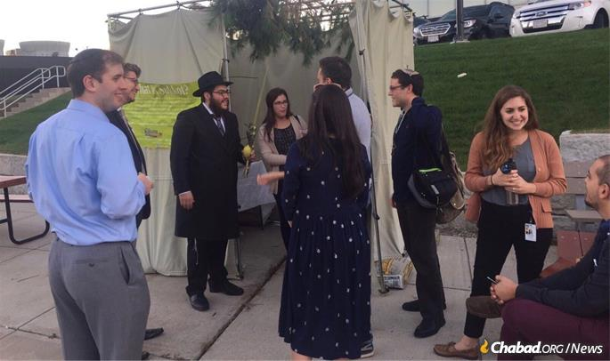 The pre-fab sukkah in 2017 that the Fogelmans put up shortly before their official arrival in November.
