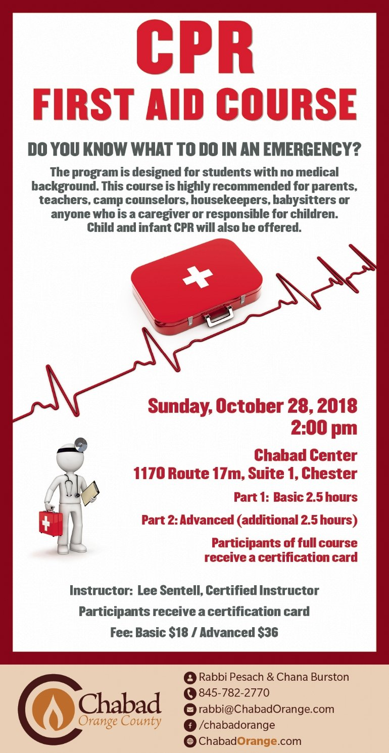 Cpr First Aid Course Chabad Of Orange County