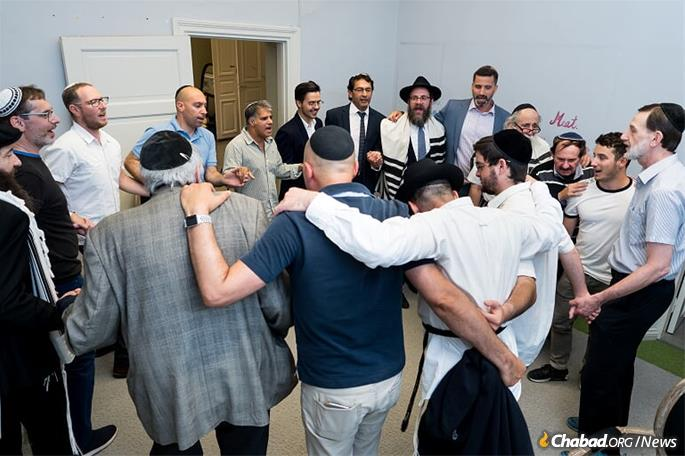 A recent celebration of the brit milah of the Wolffs' youngest son.