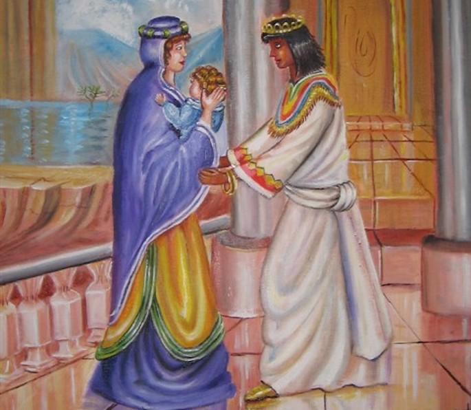 Batya entrega o bebê Moshê a Yocheved para ser amamentado.