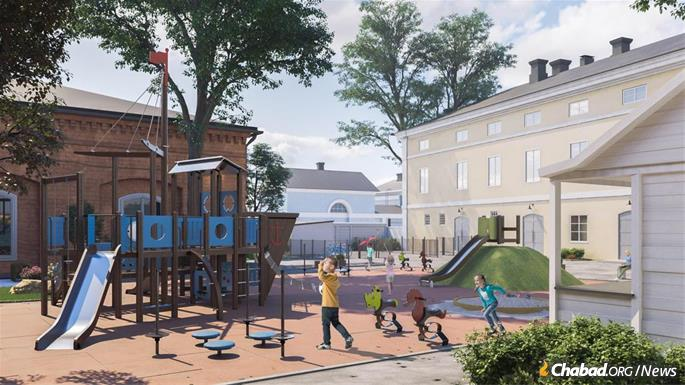 The renovated center will include a playground and other activity spaces for children. (Artist's rendering)