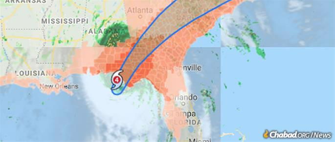 The storm track as Hurricane Michael made landfall. (Map: Google)