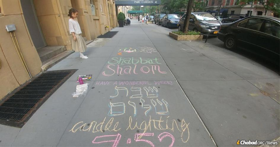 #LetsChalkShabbat is an innovative way to remind Jewish women and girls about this special weekly mitzvah. Every Friday, a dedicated group of women take to the streets with sidewalk chalk, stencils and Shabbat kits like on Manhattan's Upper West Side, above.