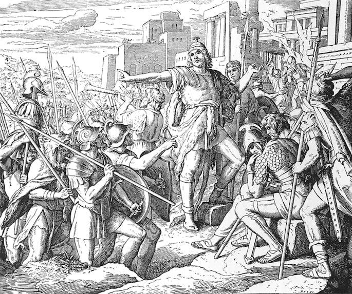 An artist's rendition of Judah the Maccabee in battle. (Photo: Wikimedia)