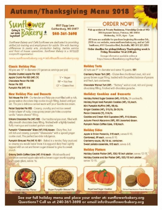 Sunflower Bakery Thanksgiving Fundraiser Friendship Circle