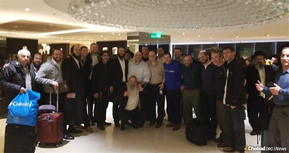 Some of the 150 El Al passengers who unexpectedly spent a Shabbat together in Athens.