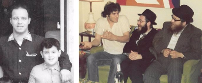 (L) With my dad in 1961. (R) With our Chabad rabbis in our newlywed apartment in 1973.