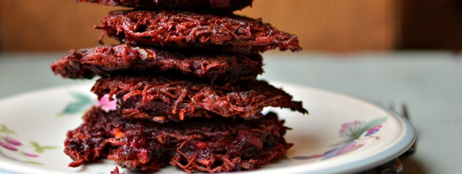 Recipe: Beet Latkes Stuffed with Goat Cheese
