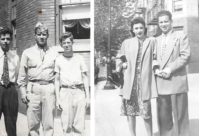 (L) My father, Julie Mischel (center), with his brothers in 1944. (R) My parents, Julie and Sally, circa 1950.