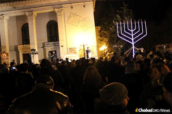 Hundreds turned out for the menorah-lightings each year.