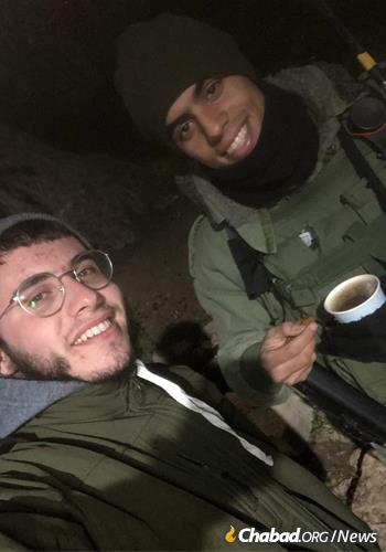 Sometimes, a hot cup of coffee and some friendship is just what a soldier on duty needs.