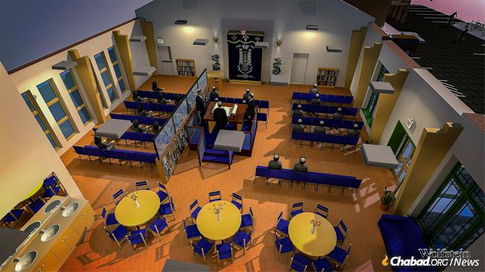 Artist's rendering of the synagogue in the expanded center.