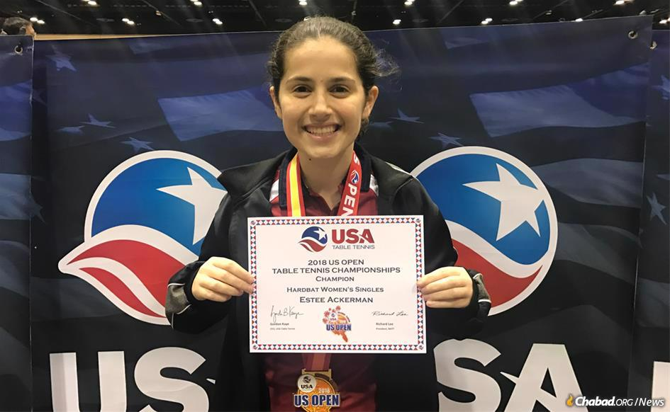 Estee Ackerman, 17, had a strategy to make it through a day of competition at the U.S. Open in table tennis while observing the Jewish fast day of Asarah B'Tevet.