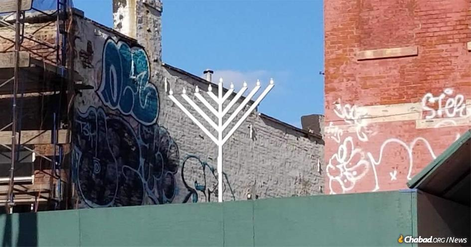 Heralding the return of Jewish life to the South Bronx, this menorah overlooks the Third Avenue Bridge that connects the area to Manhattan.