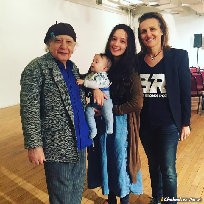 From left: Artist Oded Halahmy, baby Levi Mishulovin, Chana Mushka Mishulovin and Michelle Daniels at the Bronx Museum of the Arts.