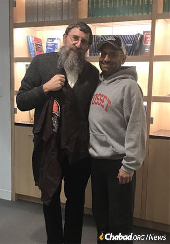 Rabbi Ephraim Simon and Adam Levitz meet before the surgery.