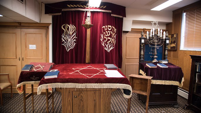 The interior of the current Anshei Lubavitch in Birchwood Plaza. (Photo: Brett Walkow)