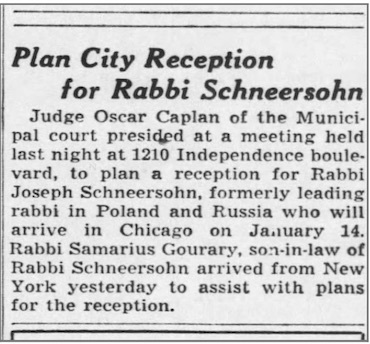 Citywide efforts were made to greet the Rebbe, who was coming to Chicago for the second time. (Chicago Tribune, Jan. 6, 1942)