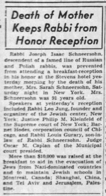 Jewish Chicago was severely disappointed to learn that the Rebbe would curtail his visit. (Chicago Tribune, Feb. 2, 1942)