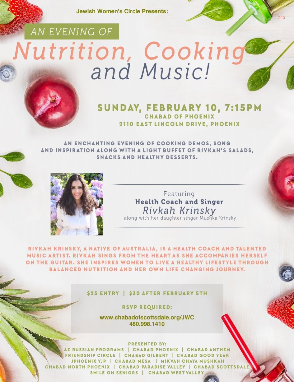 An Evening Of Nutrition Cooking Music Chabad Of Scottsdale