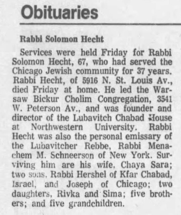Rabbi Hecht's sudden passing was mourned throughout Chicago and beyond. (Chicago Tribune, Aug. 20, 1979)