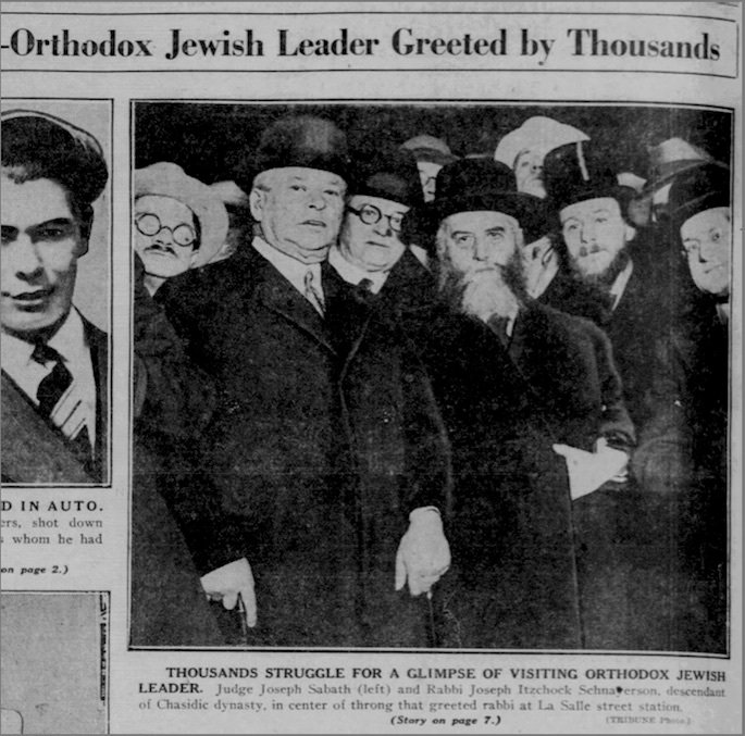 The Rebbe's arrival in Chicago merited a photograph on the back of the Feb. 10, 1930, Chicago Daily Tribune and an extensive article within its pages.
