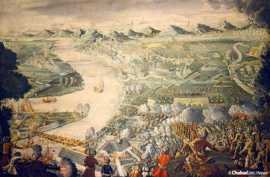 """""""The Taking of Buda, 1686"""" in the Deutsches Historisches Museum. The victorious Christian invaders destroyed the Jewish community of Buda, along with their Muslim neighbors."""