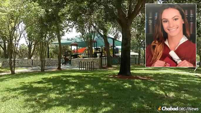 Meadow's Garden and Playground at Chabad of Coral Springs will feature a memorial to the 17 victims of the school shooting, joining Princess Meadow's Playground in Betti Stradling Park, above, where she played as a child.