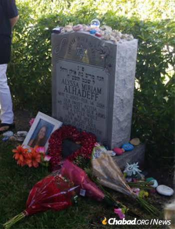 Mourners gathered at the gravesite of Alyssa Alhadeff, 14, who was killed one year ago.