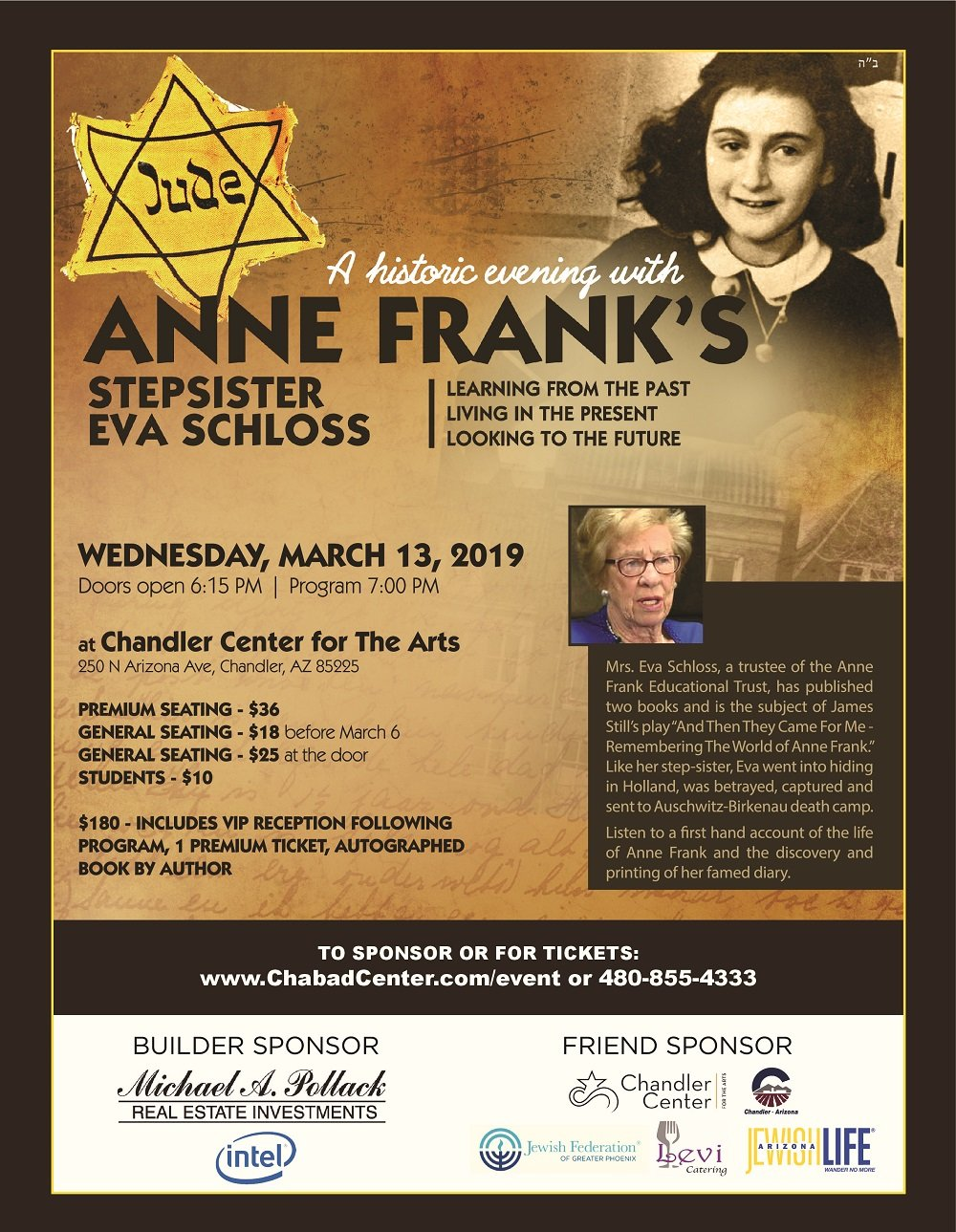 A Historic Evening with Eva Schloss @ Chandler Center for the Arts