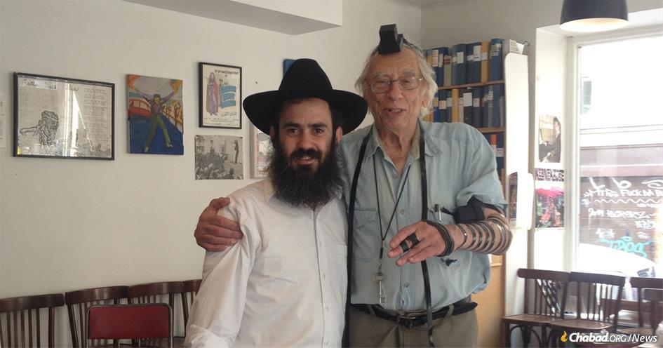 "Folk-music impressario Israel Goodman ""Izzy"" Young in Stockholm, Sweden, with Rabbi Chaim Greisman"