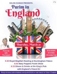 England themed Purim Party