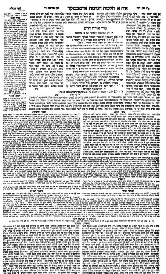 The first page of a standard edition of Shulchan Aruch, with the text surrounded by the classic commentaries.
