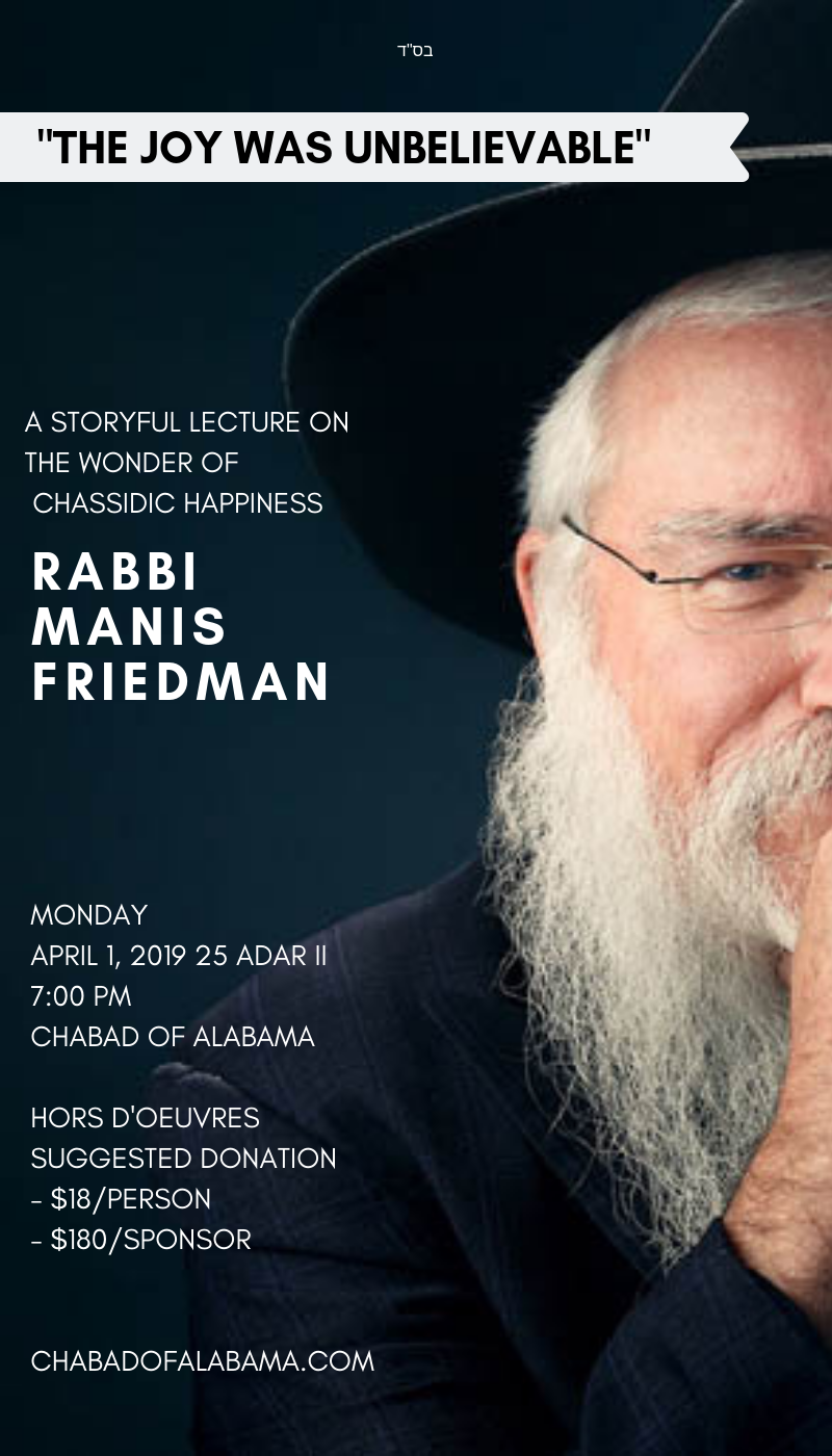 Rabbi Friedman In Kew Gardens Hills: A Story-full Lecture With Rabbi Manis Friedman