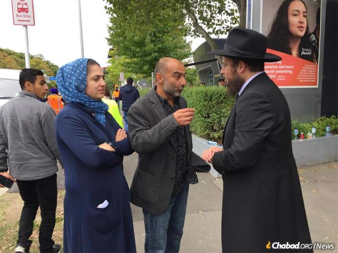 Rabbi Mendy Goldstein, co-director of Chabad of New Zealand, flew down from the North Island on Sunday to comfort and console grieving families and the community.