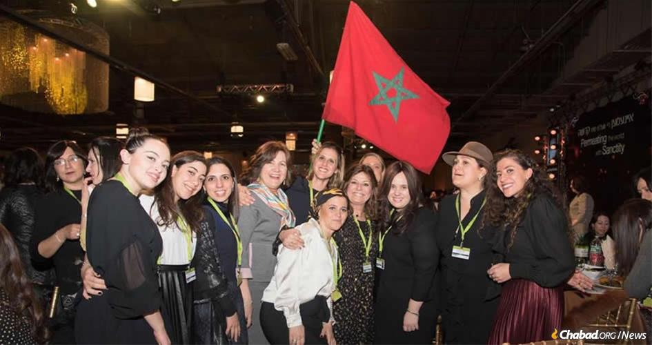 Chana Banon, third from right, with a delegation of women from Morocco at the International Conference of Chabad Women Emissaries. (Photo: Kinus.com)