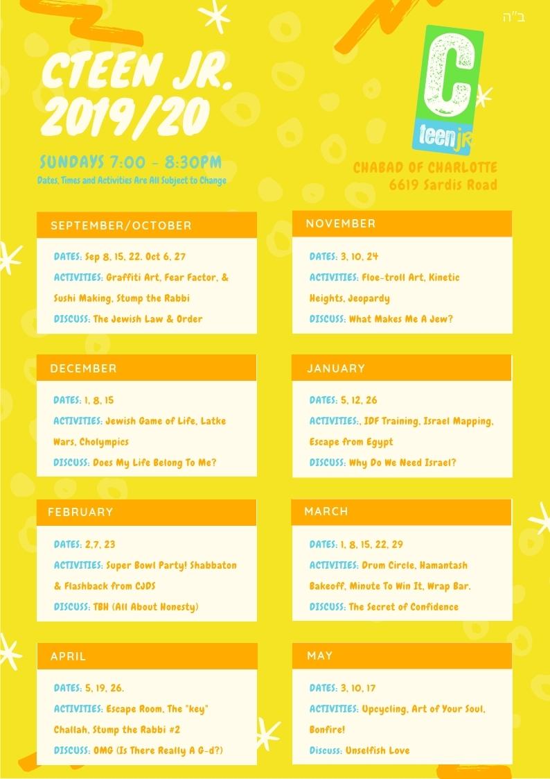 CTeen Jr. Calendar 2019/2020