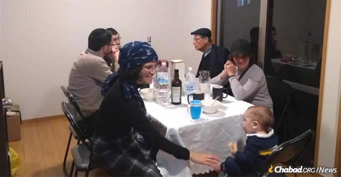 Guests enjoy Purim at the newly established Chabad of Kyoto.