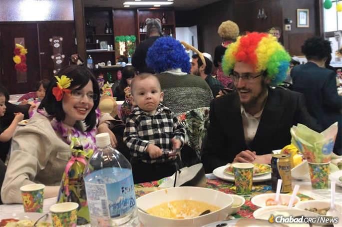 The Posners joined the Chabad community in Kobe for the Purim afternoon feast.