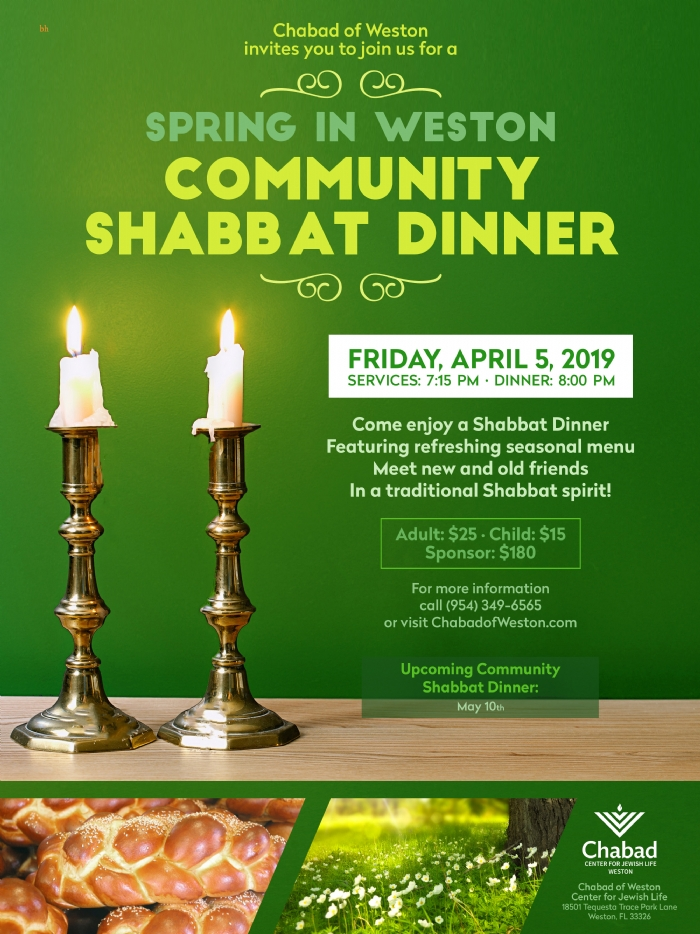 Shabbat Community Dinners - Chabad of Weston