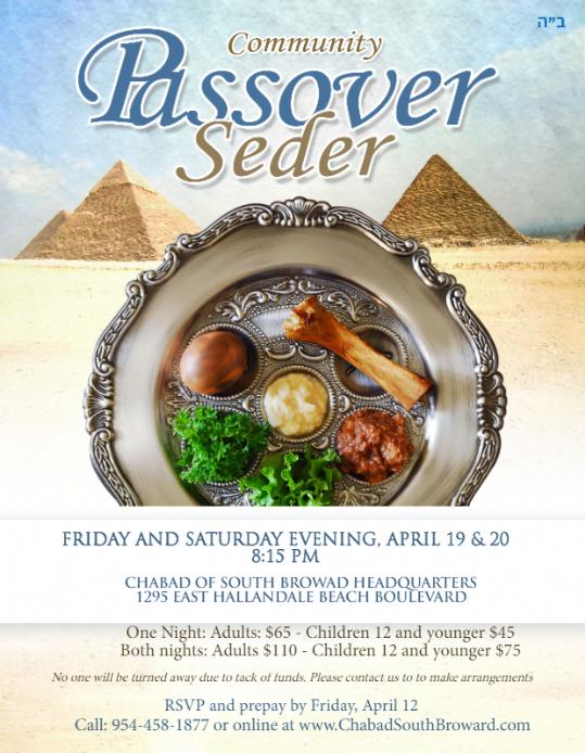 Pesach Seders 2019 - Chabad of South Broward