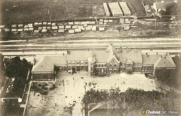 Berdichev, to which one wagon of matzah was sent, was long known as the capital of the Jews in Ukraine. Here, its train station, pictured circa 1917. (Photo: Wikimedia Commons)